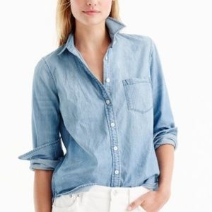 J.CREW The Perfect Shirt Chambray Popover Top